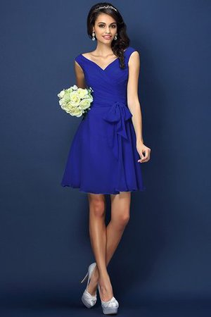 Zipper Up A-Line V-Neck Short Bridesmaid Dress - 25