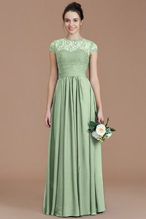 Chiffon Floor Length A-Line Jewel Short Sleeves Bridesmaid Dress - 31