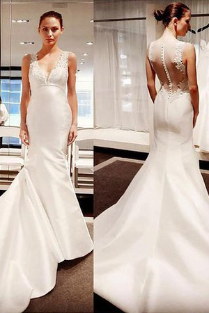 Court Train Satin Sleeveless Mermaid V-Neck Wedding Dress - 1