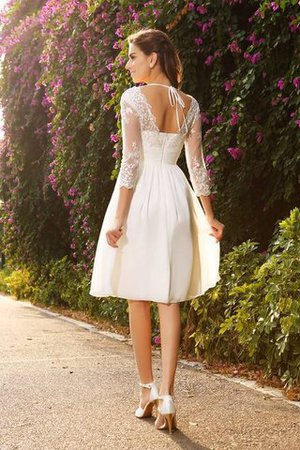 V-Neck A-Line Knee Length 3/4 Length Sleeves Wedding Dress - 2