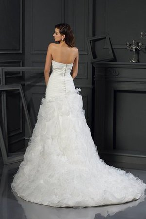 Organza Princess Zipper Up Chapel Train Long Wedding Dress - 2