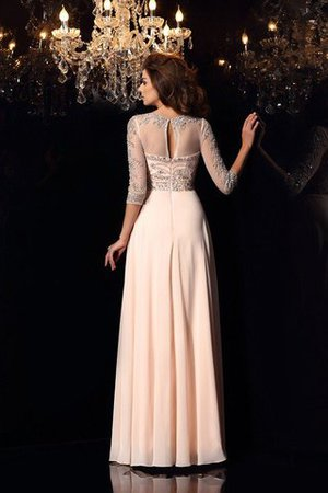 3/4 Length Sleeves A-Line Zipper Up Floor Length Beading Evening Dress - 2
