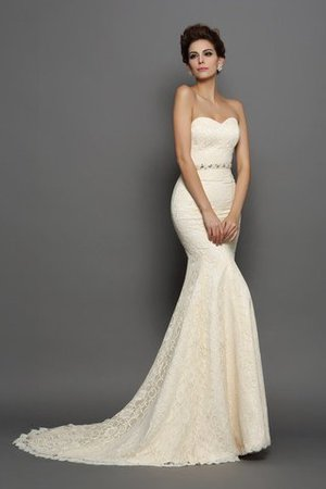 Sleeveless Chapel Train Accented Bow Long Empire Waist Wedding Dress - 1