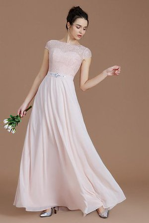 Floor Length Lace Chiffon Natural Waist Zipper Up Bridesmaid Dress - 5
