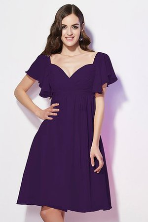 Ruffles Knee Length Short Sleeves Sweetheart Bridesmaid Dress - 11