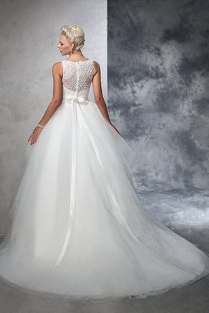 Chapel Train Bateau Empire Waist Appliques Ball Gown Wedding Dress - 2