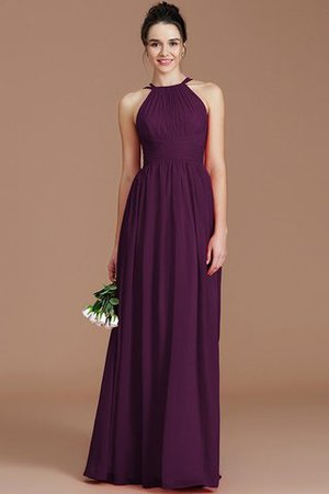 Ruched Floor Length Chiffon Natural Waist Halter Bridesmaid Dress - 14