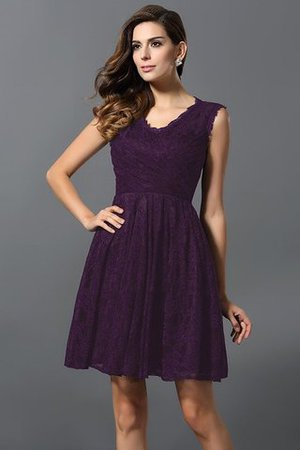 V-Neck Short Satin Natural Waist A-Line Bridesmaid Dress - 13