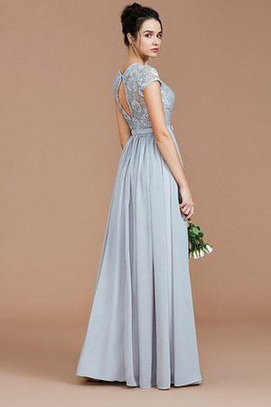 A-Line Jewel Lace Short Sleeves Bridesmaid Dress - 3