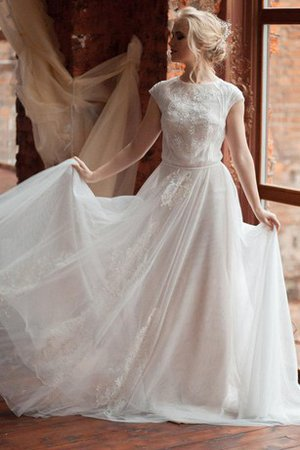 Scoop Tulle Beading Short Sleeves Button Wedding Dress - 1