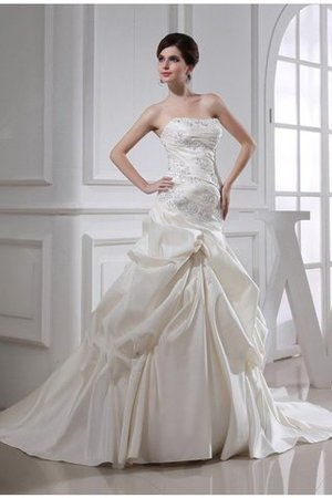 Beading Satin Sleeveless Lace-up Strapless Wedding Dress - 2