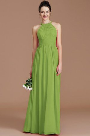 Ruched Floor Length Chiffon Natural Waist Halter Bridesmaid Dress - 15
