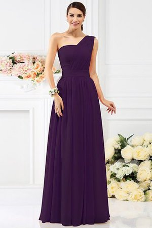 Pleated Long A-Line One Shoulder Bridesmaid Dress - 13