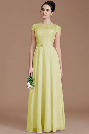 Floor Length Lace Chiffon Natural Waist Zipper Up Bridesmaid Dress - 13