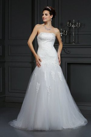 Strapless Sheath Natural Waist Satin Long Wedding Dress - 1