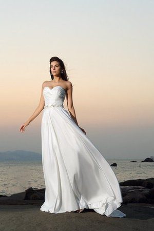 Princess Beach Sleeveless Beading Chapel Train Wedding Dress - 1