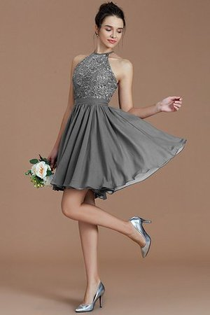 A-Line Short Halter Natural Waist Bridesmaid Dress - 33