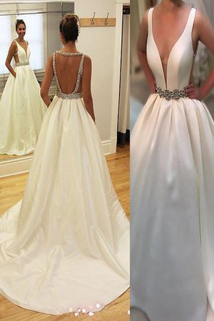 Court Train Natural Waist A-Line Sleeveless Wedding Dress - 1