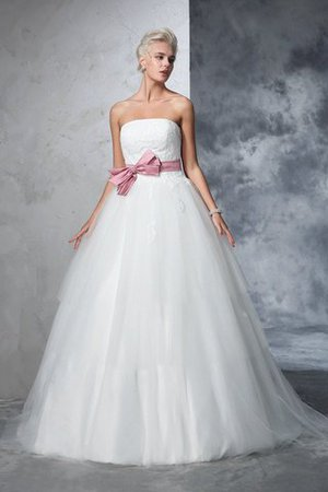 Empire Waist Court Train Accented Bow Ball Gown Strapless Wedding Dress - 1
