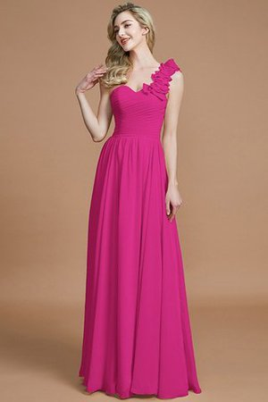 Sleeveless Natural Waist One Shoulder A-Line Chiffon Bridesmaid Dress - 16
