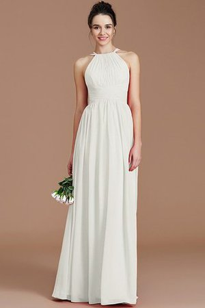 Ruched Floor Length Chiffon Natural Waist Halter Bridesmaid Dress - 20
