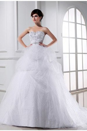 Chapel Train Sweetheart Ball Gown Satin Empire Waist Wedding Dress - 1