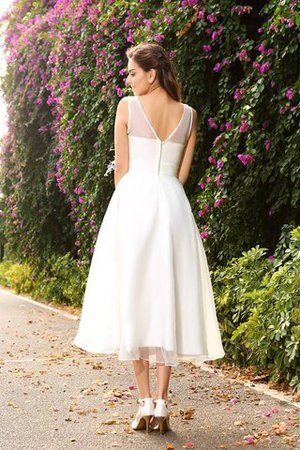 Zipper Up Ankle Length A-Line Sashes Long Wedding Dress - 2