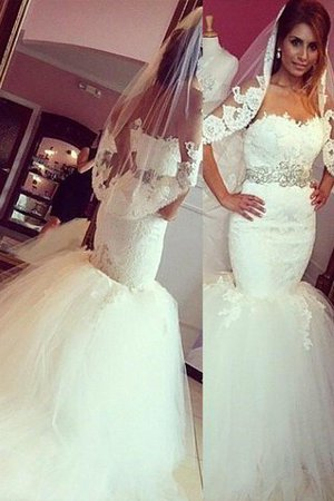 Mermaid Court Train Lace Natural Waist Sweetheart Wedding Dress - 1