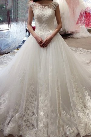 Court Train Tulle Bateau Lace-up Appliques Wedding Dress - 1