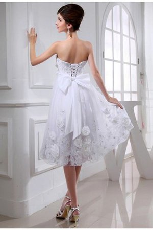 Beading Appliques Short Empire Waist Organza Wedding Dress - 2