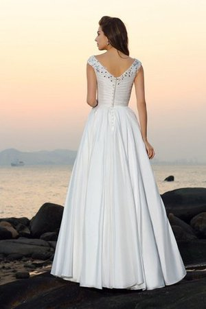 Floor Length A-Line Taffeta Long Sleeveless Wedding Dress - 2
