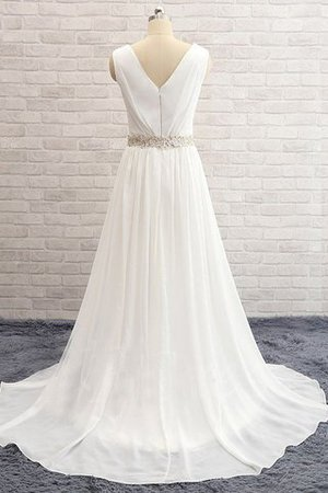 Sweep Train Natural Waist Beading A-Line Wedding Dress - 4