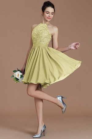 A-Line Short Halter Natural Waist Bridesmaid Dress - 14
