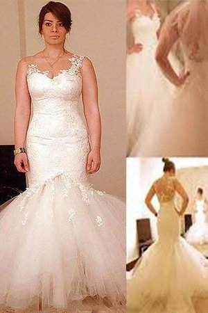 Natural Waist Wide Straps Mermaid Sleeveless Wedding Dress - 1