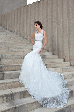 V-Neck Mermaid Sleeveless Chapel Train Appliques Wedding Dress - 3