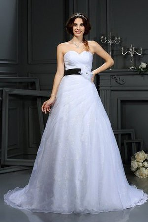 Sleeveless Long Court Train Sweetheart Satin Wedding Dress - 1