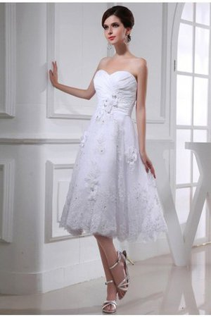 Beading Sweetheart Taffeta Knee Length Organza Wedding Dress - 1