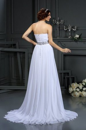 Court Train Beading A-Line Sleeveless Chiffon Wedding Dress - 2