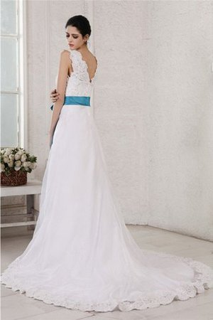 V-Neck Empire Waist Sashes A-Line Appliques Wedding Dress - 2