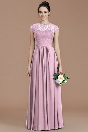 Chiffon Floor Length A-Line Jewel Short Sleeves Bridesmaid Dress - 28