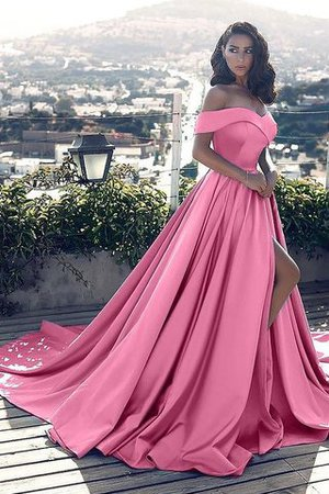 Ruffles A-Line Off The Shoulder Satin Court Train Evening Dress - 1