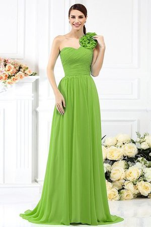 Chiffon A-Line One Shoulder Long Flowers Bridesmaid Dress - 14
