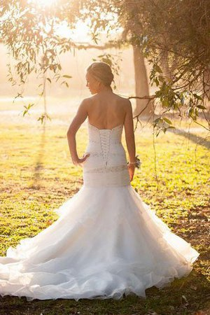 Court Train Mermaid Sweetheart Sleeveless Natural Waist Wedding Dress - 2