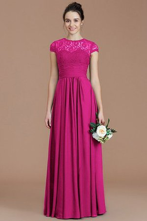 Chiffon Floor Length A-Line Jewel Short Sleeves Bridesmaid Dress - 17