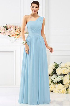 Pleated Long A-Line One Shoulder Bridesmaid Dress - 18