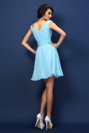 Zipper Up A-Line V-Neck Short Bridesmaid Dress - 30