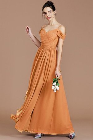 Chiffon Floor Length A-Line Ruched Bridesmaid Dress - 26