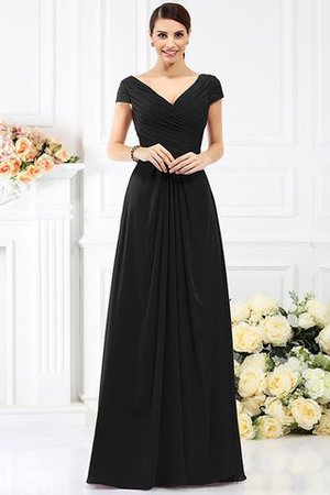 Long Empire Waist Pleated A-Line Short Sleeves Bridesmaid Dress - 2
