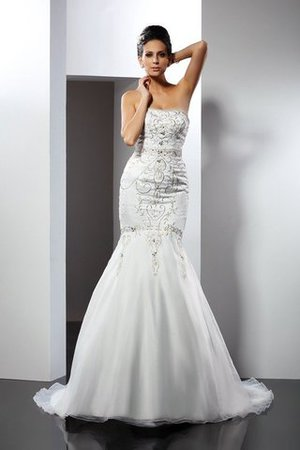 Appliques Satin Strapless Long Sleeveless Wedding Dress - 1