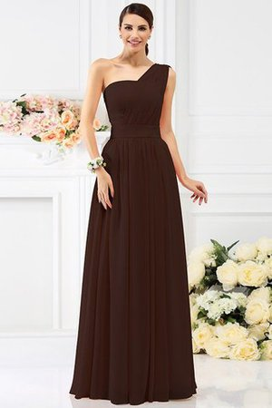 Pleated Long A-Line One Shoulder Bridesmaid Dress - 7